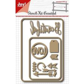 Joy!Crafts Scr@p Snij stencil - Beautiful - Love kit